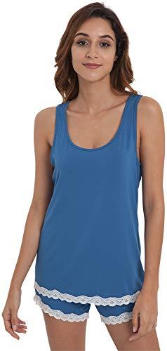 GYS Women's Bamboo Pajama Tank and Shorts Set, Prussian Blue, X - Sets Lounge Tank