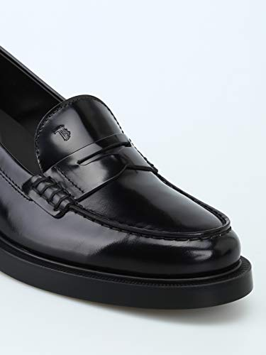 Nero Black Brushed Thick Tod's Donna Leather Heel Loafers npYwExEPq