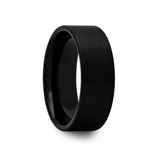 - 8 mm Mens Black Tungsten Carbide Rings Wedding Bands Pipe Cut with Brushed Finish