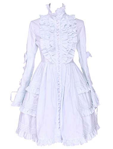 Antaina White Cotton Ruffle Stand-up Collar Victorian Lolita Cosplay Dress,M