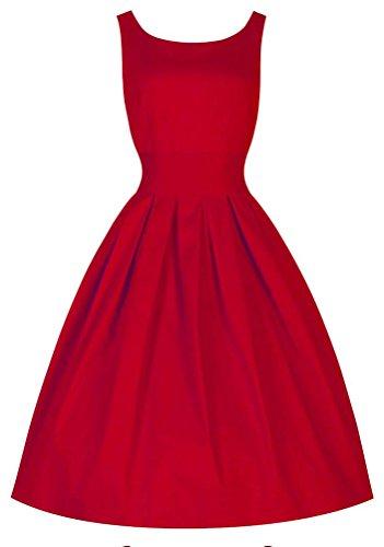 Damen vintage Partykleid Rot AWEIDS Cocktailkleider Retro Sommer Faltenrock 50s Ärmellos 5wTwOq6XR