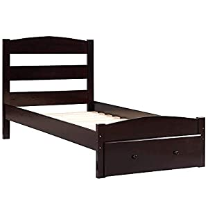 Merax Platform Wood Bed Frame Twin with Storage and Headboard, Solid Wood Single Bed Frame with Drawer