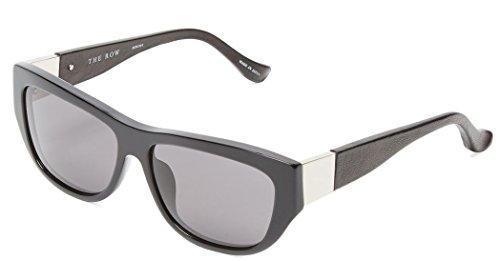 The Row x Linda Farrow 'The Row 30' Black Leather & Acetate - Row Sale Sunglasses The
