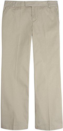 French Toast School Uniform Girls Adjustable Waist Flat Front Pants, Khaki, 4 ()
