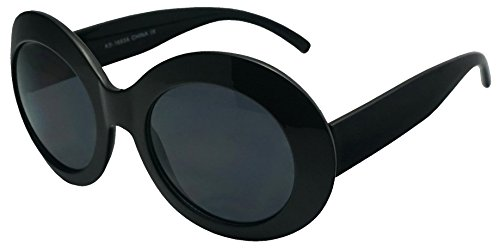 Women's Oversized Thick Round Bold MOD Fashion Jackie O Inspired Sunglasses (Black, Black)