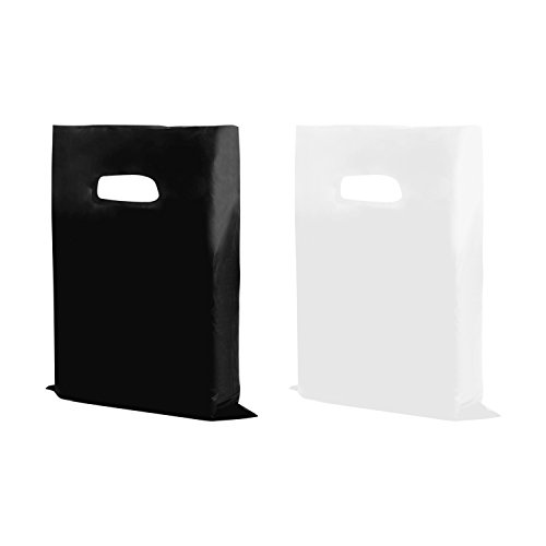 "Houseables Merchandise Bags, Retail Shopping Goodie Bag, Plastic, 16"" x 18"", 100 Pack, 1.75 Mil Thick, Low Density, Glossy, Black And White Color, With Handles, For Stores, Boutiques, Clothes, Books"
