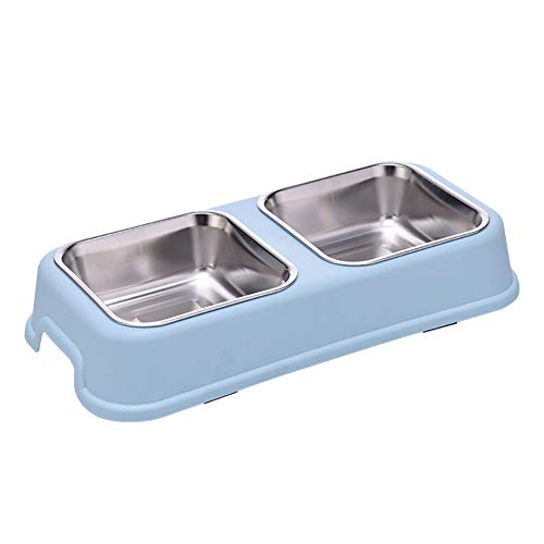 Luck Dawn Double Dog Cat Diner Bowls - Stainless Steel Pet Feeder and Waterer with No-Skid No-Spill Resin Station