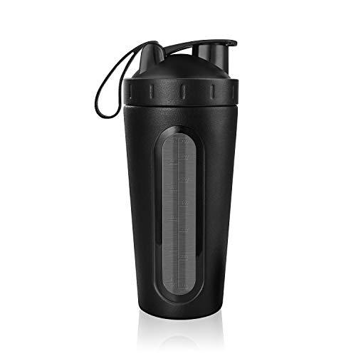 Homiguar Protein Shaker Bottle, Stainless Steel Loop Top Shaker Cup, Visible Window, Leak Proof, 28-Ounce - - Blender Clear Black Shaker Bottle