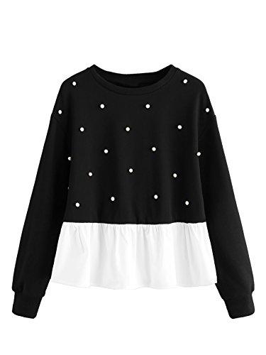 Romwe Womens Cute Contrast Ruffle Hem Round Neck Crop Sweatshirt Tops