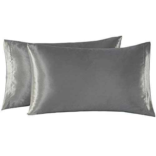 EXQ Home Satin Pillowcases Set of 2 for Hair and Skin Standard/Queen Size 20x30 Grey Pillow Case with Envelope Closure (Anti Wrinkle,Hypoallergenic,Wash-Resistant) - Pillowcase Hair Satin