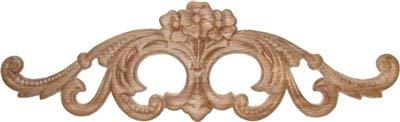 (Veneered Oak Decorative Scroll Floral Ornament Applique - 14-3/16