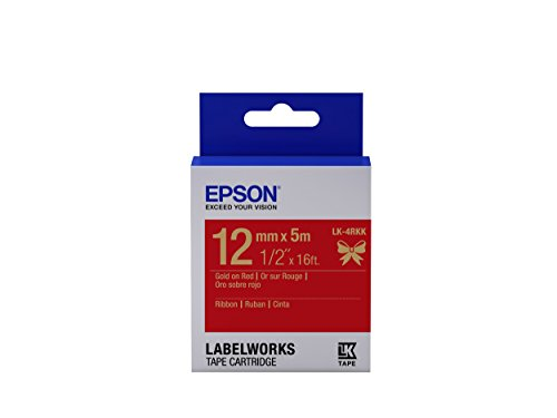 """Epson LabelWorks Ribbon LK  Tape Cartridge ~1/2"""" Gold on Red"""