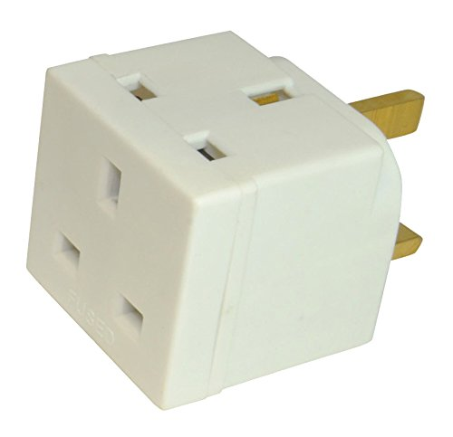 2 Way Block Plug Mains Adaptor Double Plug 3 Pin 13A In White.