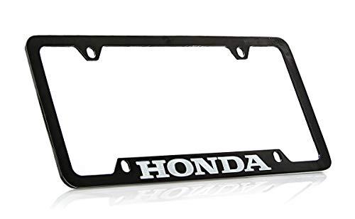 Honda Workmark Black Coated Zinc Bottom Engraved License Plate Frame ()