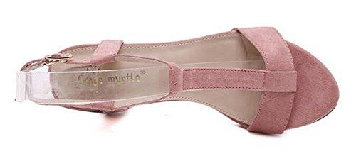 Chfso Femmes Gladiateur De La Mode Bout Ouvert T-sangle Boucle Solide Cheville Sangle Haute Chunky Talon Sandales Rose