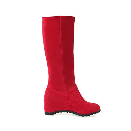 AllhqFashion Womens Round Closed Toe Mid-Top High-Heels Solid Imitated Suede Boots Red xZYA58P9Wc