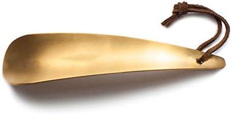 軽量 シューホーンレトロメタルポータブル旅行靴ヘルパーロングハンドル紳士ギフト男性女性子供 耐用 (Color : Metallic, Size : One size)