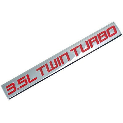 Chrome/Red Metal 3.5L Twin Turbo Engine Motor Badge For Trunk Hood Door for Ford F-150 (Turbo Motor Twin)