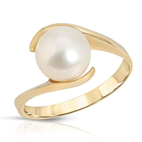 Regalia Cultured Pearl Ring 14K Yellow Gold - Size 7 (White)