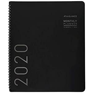"AT-A-GLANCE 2020 Monthly Planner, 9"" x 11"", Large, Contemporary, Black (70260X05)"