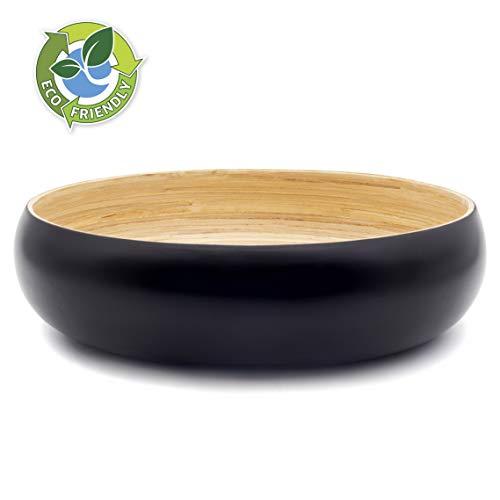 Dehaus® Gran Frutero de Cocina de Bambu de 30 cm, Ensaladera Elegante, Cuenco de Madera para Servir Ensaladas, Moderna Cesta de Madera para el Pan, Bol Grande Redondo para Pasta (Negro)