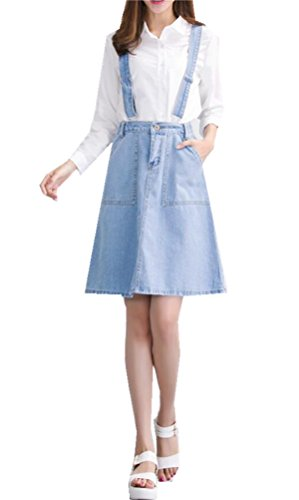 Women's A-line High Waist Slim Fit Denim Jeans Mid Length Overalls Suspender Skirt