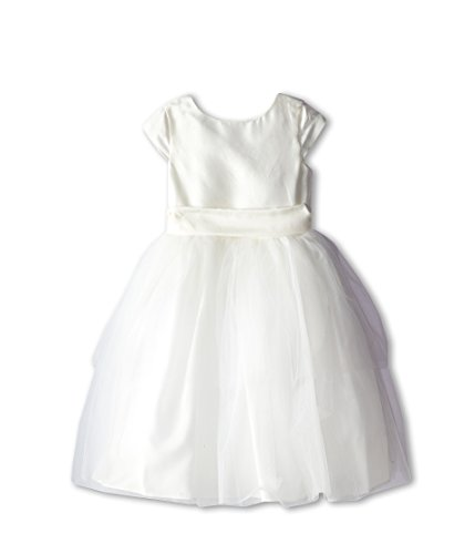 Us Angels Little Girl's Cap Sleeve With A Tulle Skirt Dress, DMWHT, 6 by US Angels
