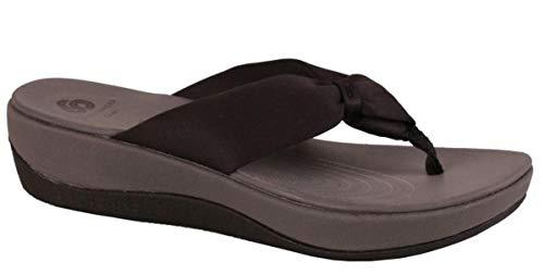 CLARKS Women's Arla Glison Hanging Flip Flop Sandal Black Fabric 9 M US