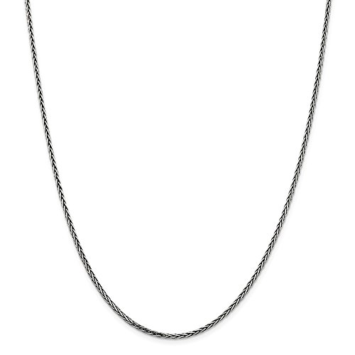 925 Sterling Silver Solid 2.22mm Square Spiga Chain Necklace 20 Inch Pendant Charm Fine Jewelry Gifts For Women For Her ()