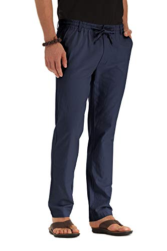 ZYFMAILY Men's Casual Beach Trousers Linen Summer Pant Navy Blue-US 32