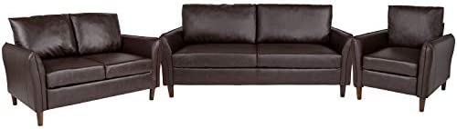 Flash Furniture Milton Park Upholstered Plush Pillow Back Chair, Loveseat and Sofa Set in Brown LeatherSoft