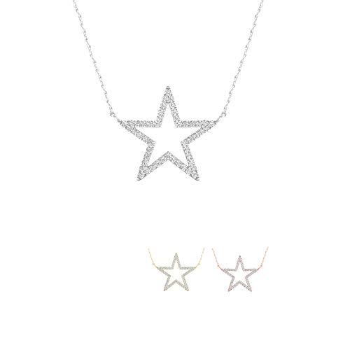 IGI CERTIFIED 1/8ct Diamond Star Fashion Necklace, Diamond Pendant for Women in 10k Yellow Gold (I-J, I2)