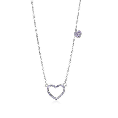 Girls Sterling Silver 925 Purple Heart Necklace Cubic Zirconia Pendant With 15