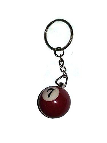 1 Inch Number 7 SEVEN Mini Billiard Snooker POOL BALL Key Chain Ring Keychain - Snooker Ball Diameter