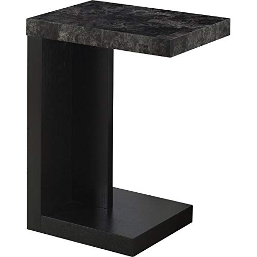 Wood End Table - End Table with Marble Top - Black/Grey
