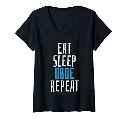 Womens Eat Sleep Oboe Instrument Student Teacher School Music Gift V-Neck -
