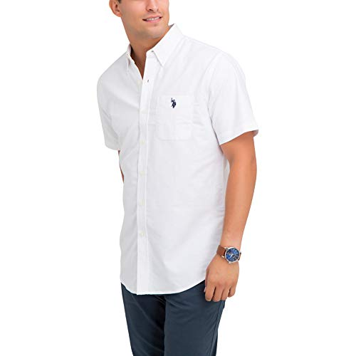 (U.S. Polo Assn. Men's Solid Stretch Oxford Short Sleeve Shirt Optic White, Medium )