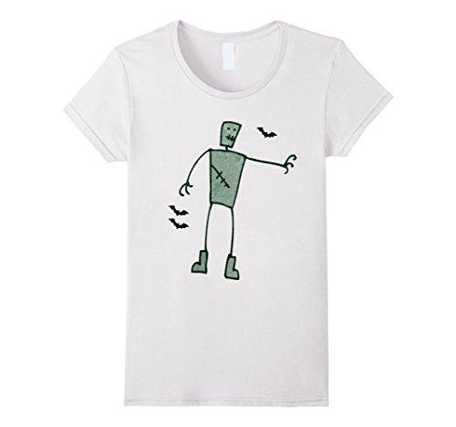 Womens Halloween Frankenstein T-Shirt Medium White