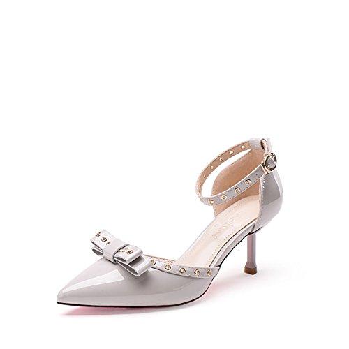 PUMPS Dünne Schuhe Herbst,Weibliche Heels Sandalen,Butterfly Knoten ein Wort Schnalle Hochzeit Schuhe Licht Mouth Schuhe-B Fußlänge=24.3CM(9.6Inch)