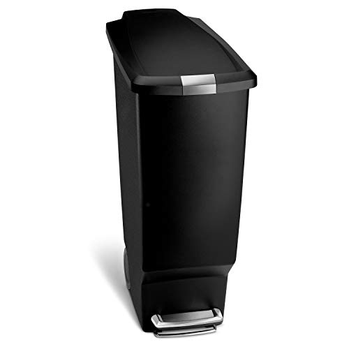 simplehuman 40 Liter / 10.6 Gallon Slim Kitchen Step Trash Can, Black Plastic Bin With Secure Slide Lock (Bin Recycle Narrow)