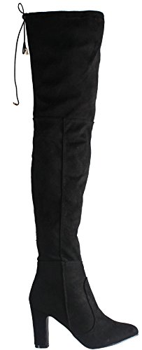 WOMENS LADIES MID PLATFORM WEDGE HEEL KNEE HIGH BOOTS SIZE Style D - Black Faux Suede dHG7FvM