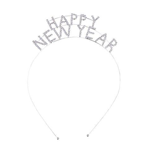 Frcolor Crystal Happy New Year Headband Women's Sparkly Rhinestone New Year Tiara Headband Party Hair Accessory