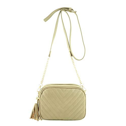 (Simple Shoulder Crossbody Bag With Metal Chain Strap And Tassel Top Zipper (Stone))