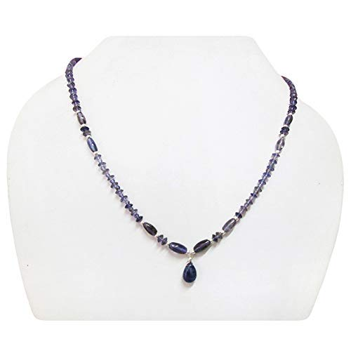 Blue Iolite Beads Necklace Beaded Jewelry with Sterling Silver 16