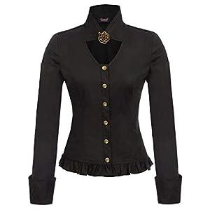 Women Steampunk Victorian Tops Stand Collar Button Placket Brooch Blouse S-2XL