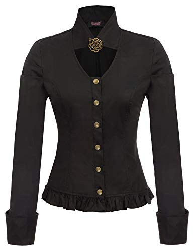 Women's Vintage Steampunk Brooch Shirts Button Placket Black 2XL