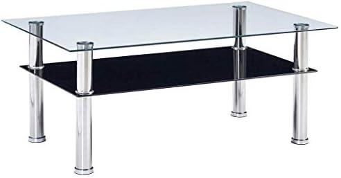 SOULONG - Mesa de café, Mesa de Centro de Cristal Templado Moderno ...