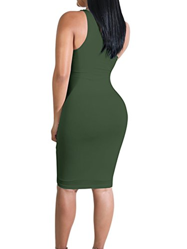 One AVINE Shoulder Army Cut Dress Elegant Green Clubwear Party Out Women's Bodycon Sleeveless ECExqRw