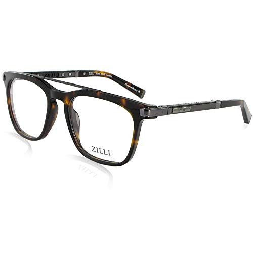 ZILLI Designer Luxurious Fashion Eyewear Eyeglasses for Men Rectangular - Crocodile Leather and Titanium - Optical Full Frame Acetate Glasses 60018, HAND MADE, Ruthenium, Brown Tortoise, (C03)