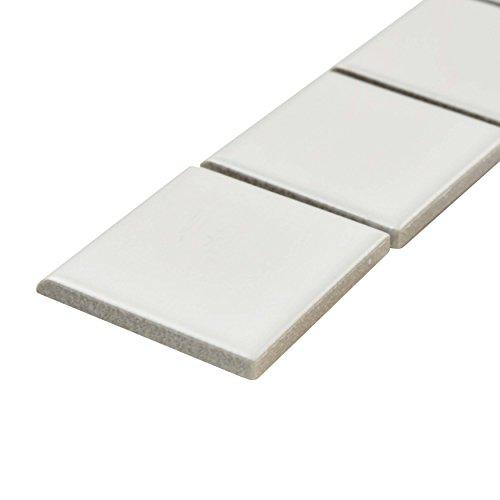 SomerTile WMTMBBS Retro Porcelain Bullnose Strip Wall Trim Tile Matte Black 1.875 x 11.875